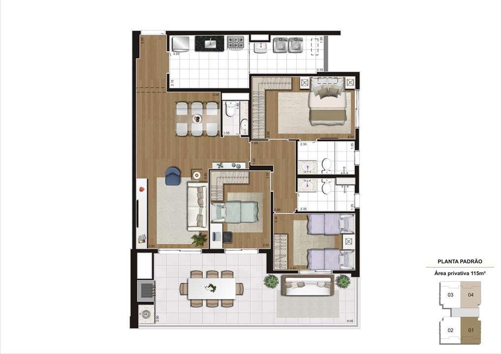 Planta padrão 115m² - 3 dormitórios (1 suíte) e 2 vagas demarcadas, para que você viva o melhor de um Cyrela no Ipiranga | Cyrela Gran Cypriani – Apartamentono  Ipiranga - São Paulo - São Paulo