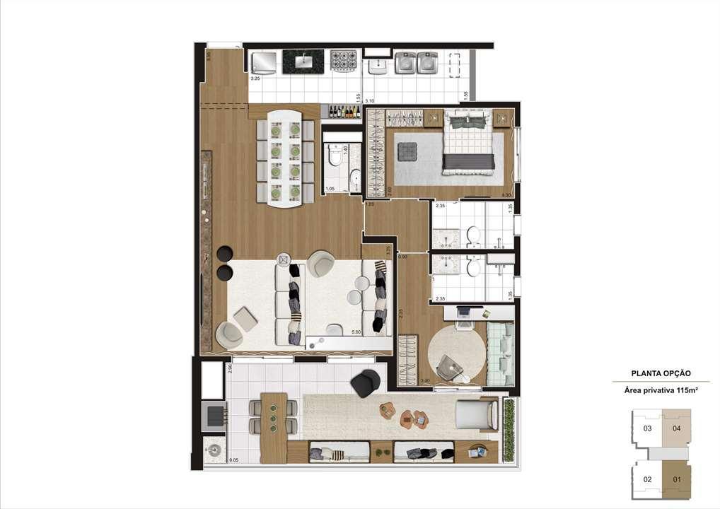 Planta opção 115m² - 2 suítes com living ampliado e 2 vagas demarcadas, para que você tenha um lugar único para viver sua história. | Cyrela Gran Cypriani – Apartamentono  Ipiranga - São Paulo - São Paulo
