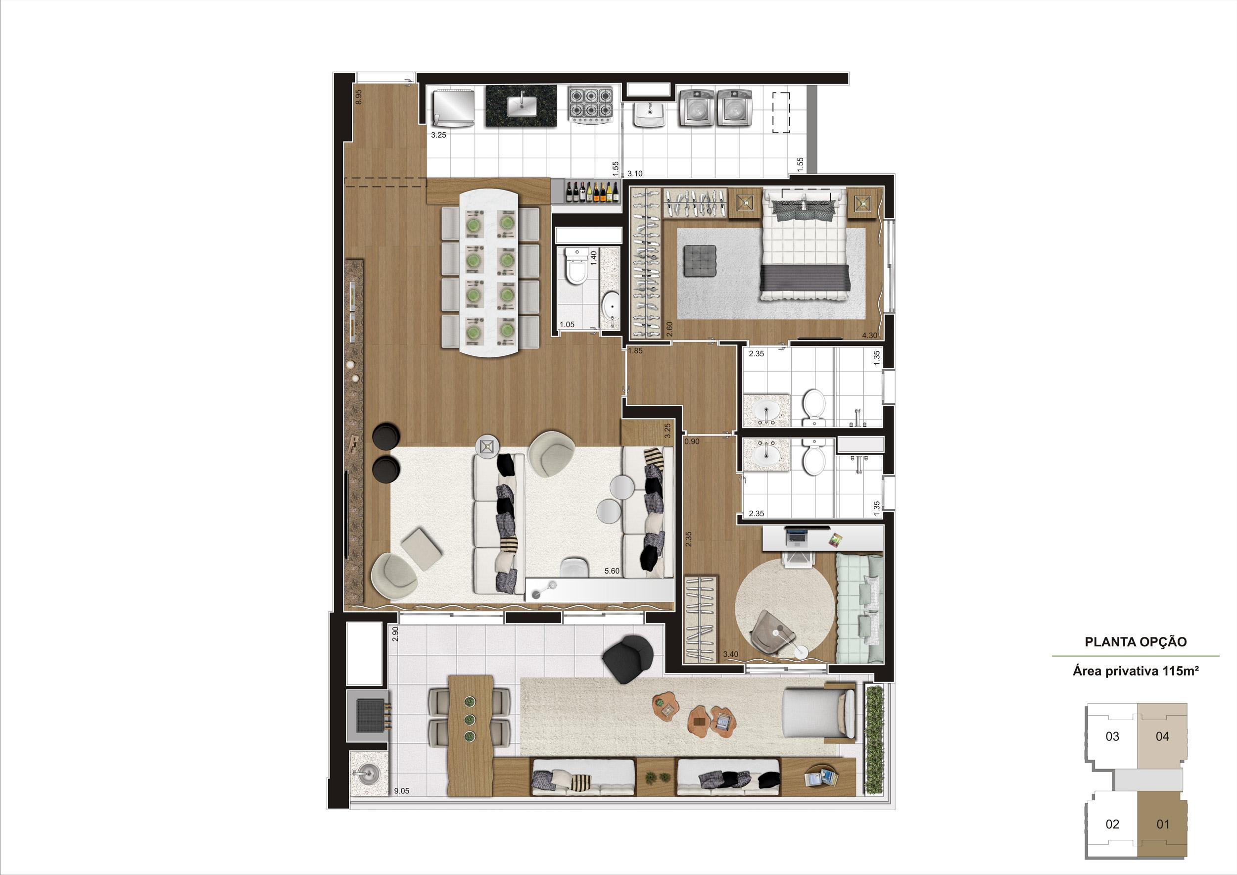 Planta opção 115m² - 2 suítes com living ampliado e 2 vagas demarcadas, para que você tenha um lugar único para viver sua história. | Cyrela Gran Cypriani – Apartamento no  Ipiranga - São Paulo - São Paulo