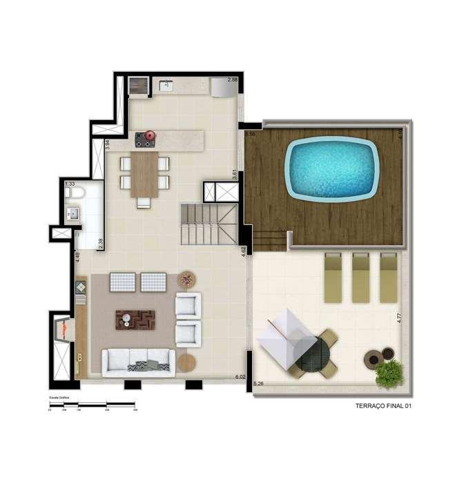Cobertura com Terraço -244m², sendo 58 m² privativos de terraço | Cyrela Goldsztein Clássico Petrópolis – Apartamentono  Petrópolis - Porto Alegre - Rio Grande do Sul