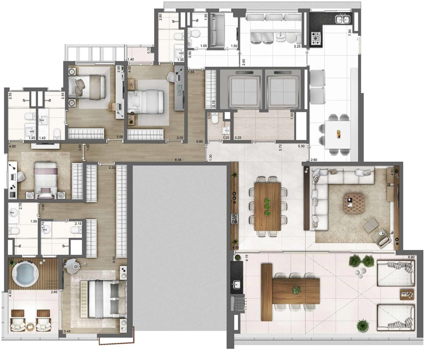 PLANTA TIPO FINAL 1 – 278M² | One Sixty – Apartamentona  Vila Olímpia - São Paulo - São Paulo