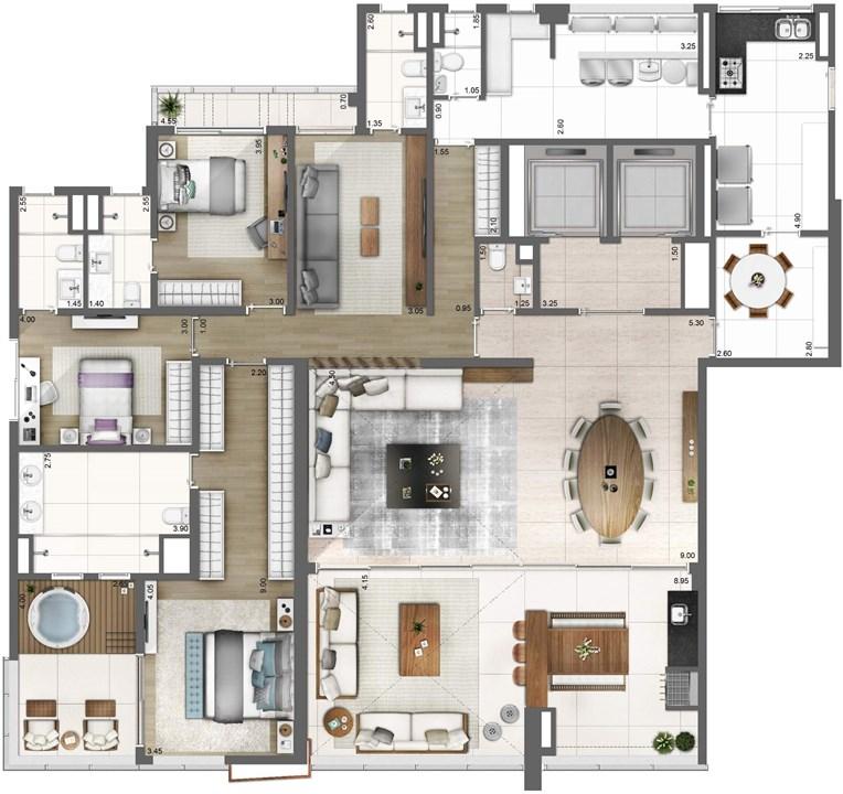 PLANTA TIPO FINAL 1 – 278M² | One Sixty – Apartamentona  Região da Faria Lima - São Paulo - São Paulo