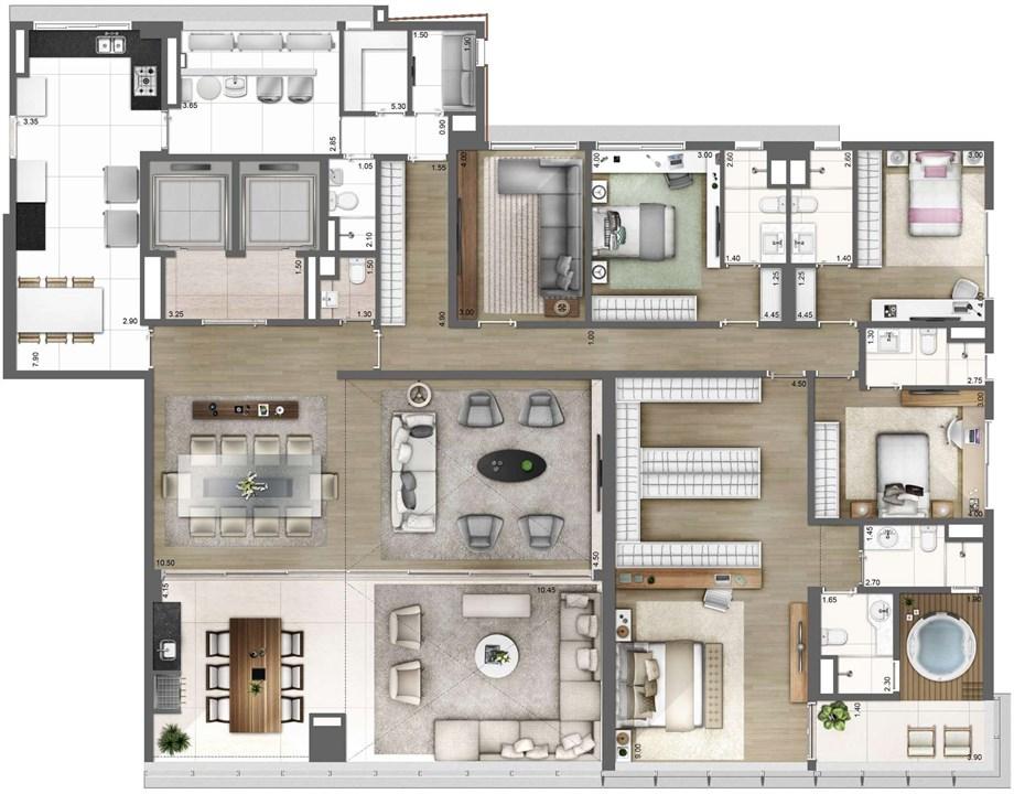 PLANTA TIPO FINAL 1 – 343M² | One Sixty – Apartamentona  Vila Olímpia - São Paulo - São Paulo