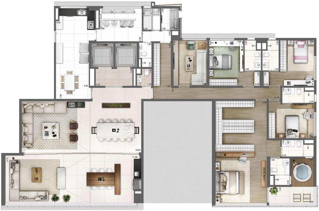 PLANTA TIPO FINAL 2 – 343M² | One Sixty – Apartamentona  Vila Olímpia - São Paulo - São Paulo