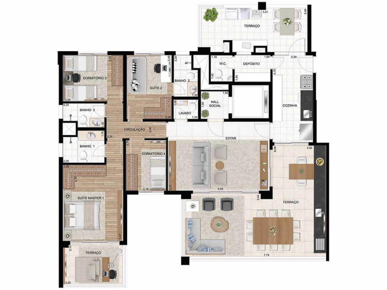 Apto. de 172 m2 - 2 Suítes (4 dorms)