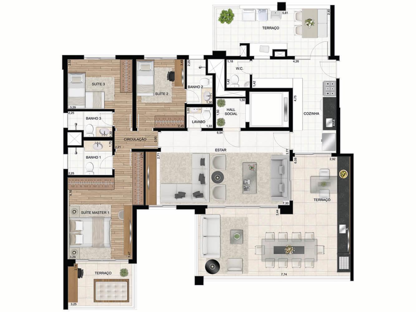 Apto. de 172 m2 - 3 Suítes