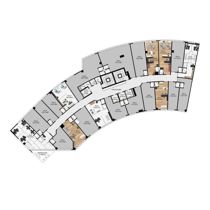 Planta 7º e 8º Pavimento | MedPlex Belo Horizonte – Salas Comerciaisno  Santo Agostinho  - Belo Horizonte - Minas Gerais
