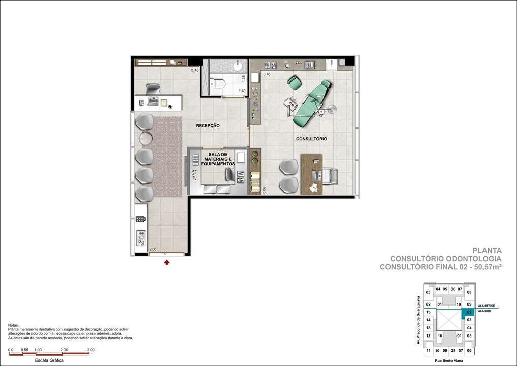 Consultório com 50m² - Sugestão de consultório de Odontologia | DOC Castelo Batel – Salas Comerciaisno  Batel - Curitiba - Paraná
