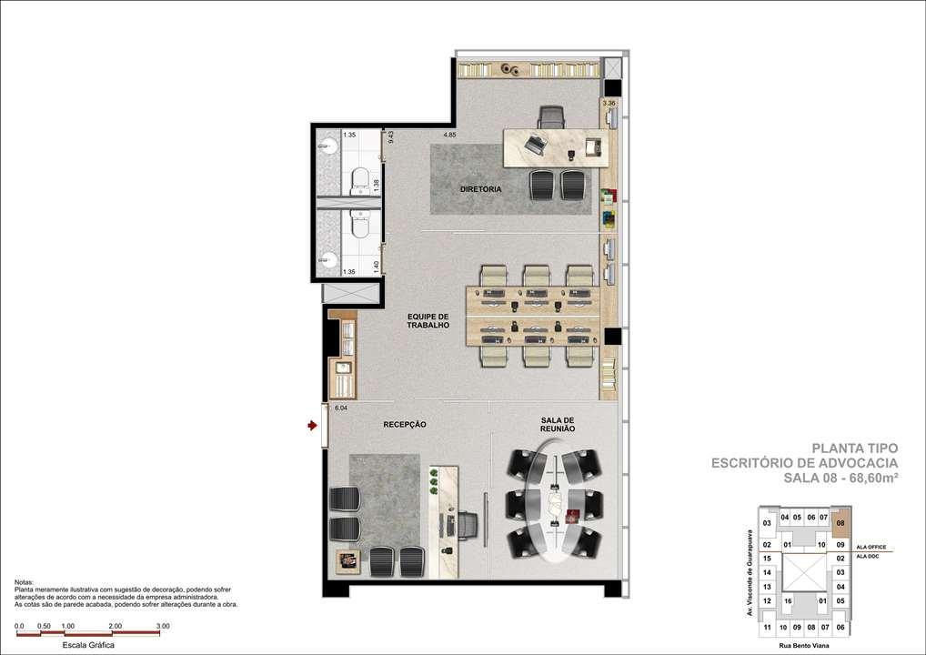 Sala Comercial com 68m² -  Sugestão com Escritório de Advocacia | DOC Castelo Batel – Salas Comerciaisno  Batel - Curitiba - Paraná