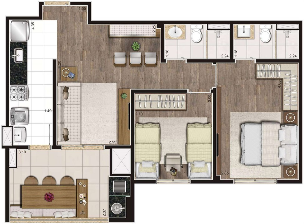 Planta Tipo Ilustrada 64 m² 2 Dormitórios (1 Suíte) | Cyrela Heredità – ApartamentoNo  Campestre - Santo André - São Paulo