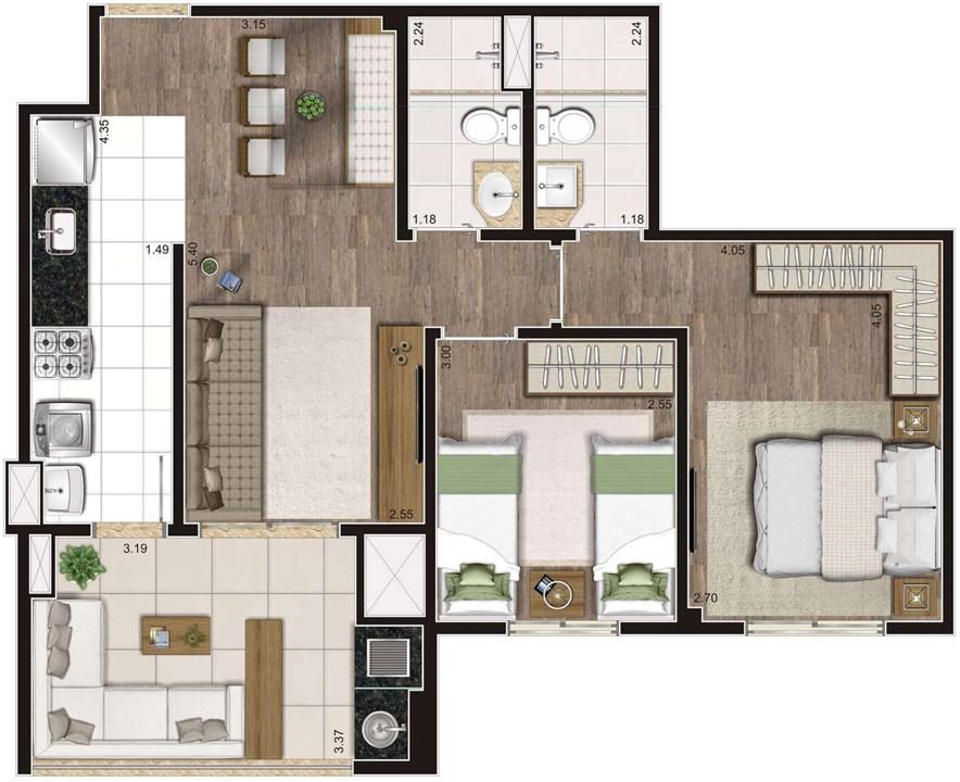Planta Tipo Ilustrada 64 m² 2 Dormitórios (1 Suíte) (2) | Cyrela Heredità – ApartamentoNo  Campestre - Santo André - São Paulo