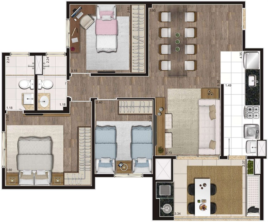 Planta Tipo Ilustrada 81 m² 3 Dormitórios (1 Suíte) | Cyrela Heredità – ApartamentoNo  Campestre - Santo André - São Paulo