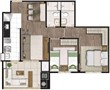 Planta Tipo Ilustrada 64 m² 2 Dormitórios (1 Suíte) (2) | Cyrela Heredità – Apartamento No  Campestre - Santo André - São Paulo