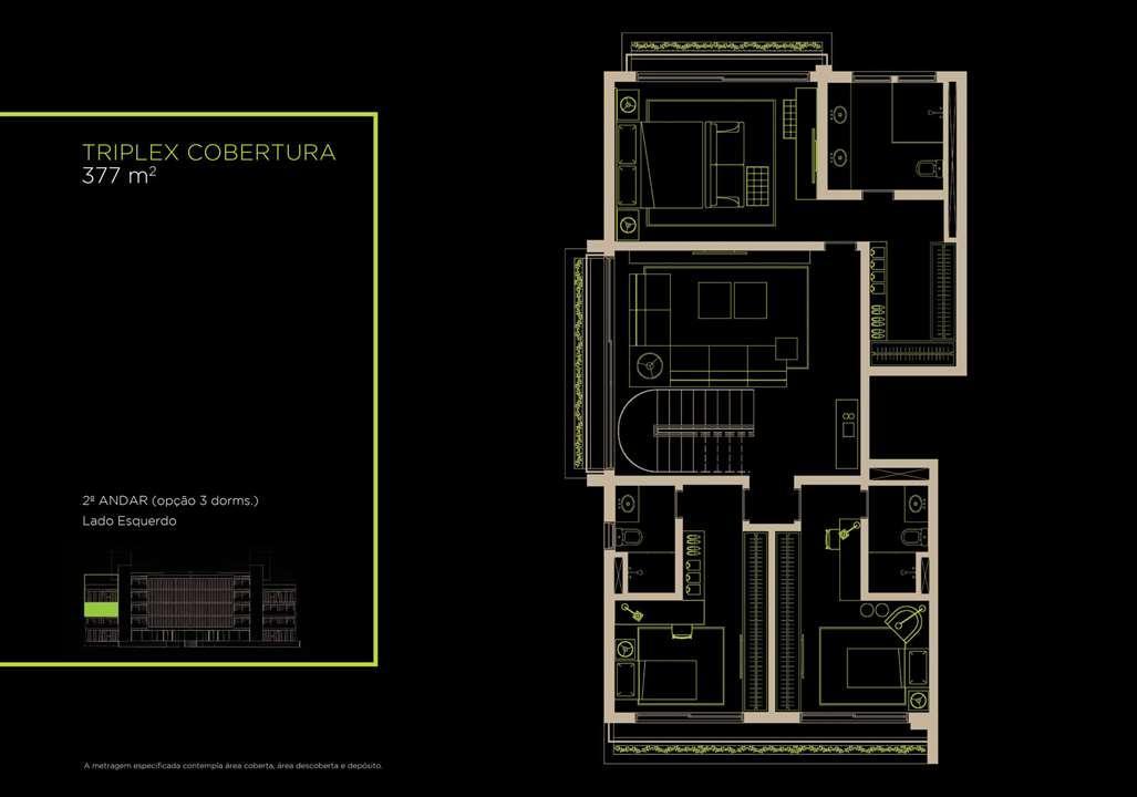 Triplex Cobertura 377m²   2º Andar (Opção 3 Dorms.) | Arruda 168 – Apartamentono  Alto de Pinheiros - São Paulo - São Paulo