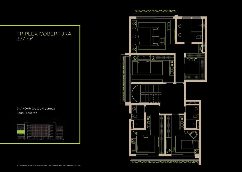 Triplex Cobertura 377m²   2°andar (Opção 4 Dorms.)