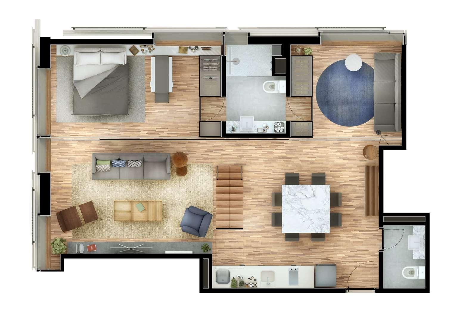 Cobertura Duplex 3 Dormitórios   115m² Pavimento Inferior
