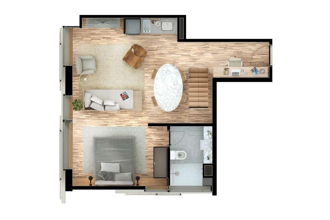 Cobertura Duplex 2 Suítes 81m² Pavimento Inferior | Nomad – Apartamentoem  Moema - São Paulo - São Paulo
