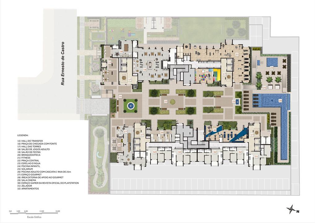 Ilustração artística do pavimento de lazer | Praças da Cidade - Praça Mooca – Apartamentona  Mooca - São Paulo - São Paulo