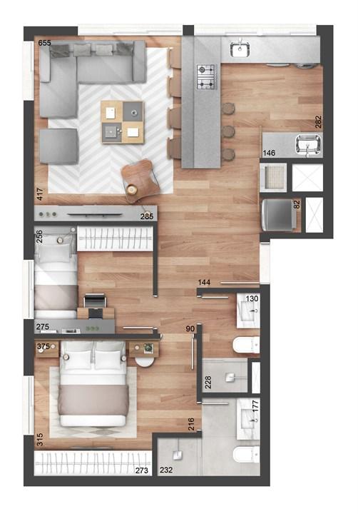 2 dormitórios 65m² com suíte | NY, 205 – Apartamentono  Auxiliadora - Porto Alegre - Rio Grande do Sul
