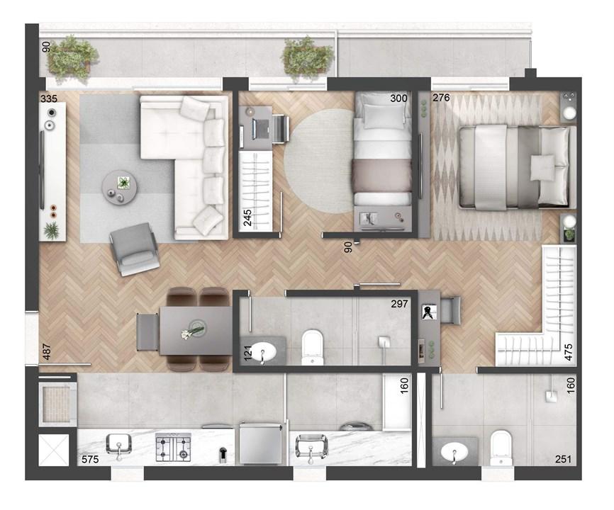 2 Dormitórios 74m² com Sacada | NY, 205 – Apartamentono  Auxiliadora - Porto Alegre - Rio Grande do Sul