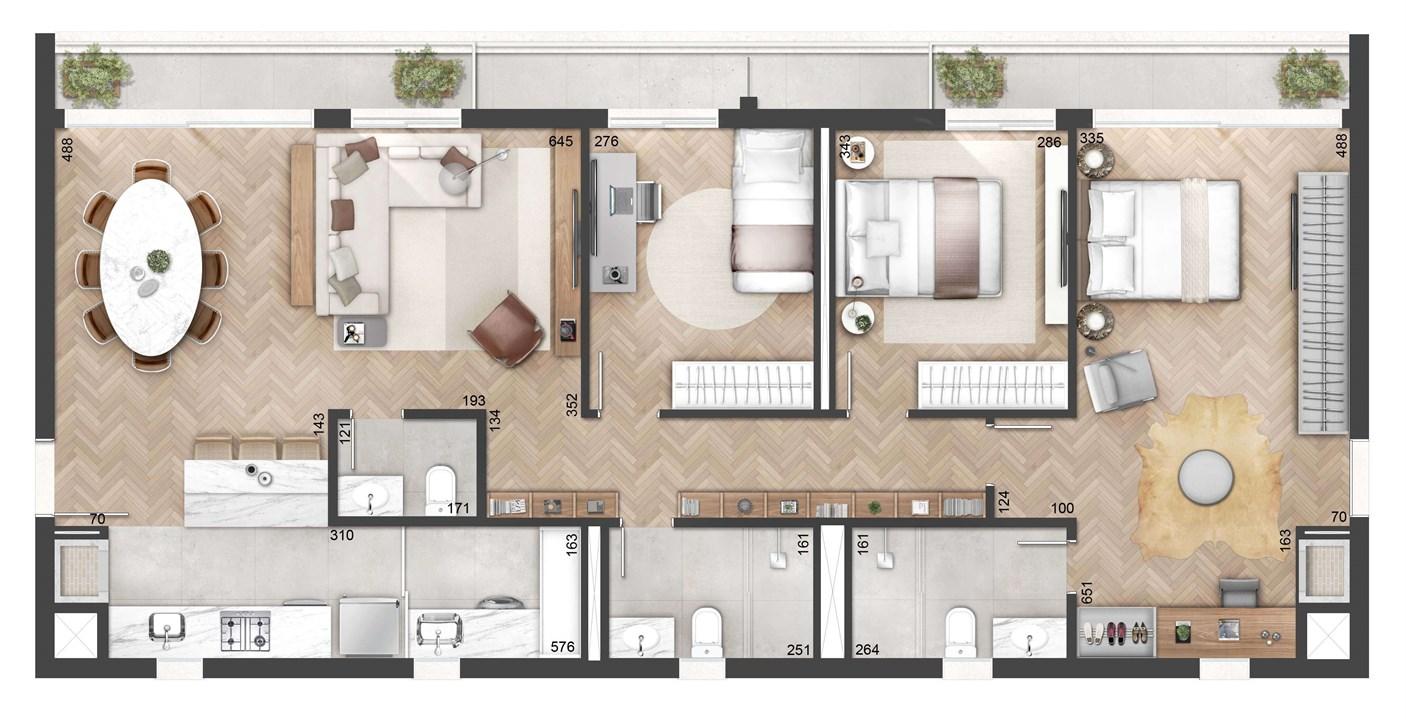 3 Dormitórios 127m²   NY, 205 – Apartamentono  Auxiliadora - Porto Alegre - Rio Grande do Sul