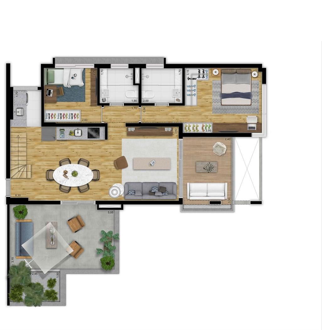 Cobertura Inferior 169 m r 2 dorms | 2 vagas | Depósito  privativo