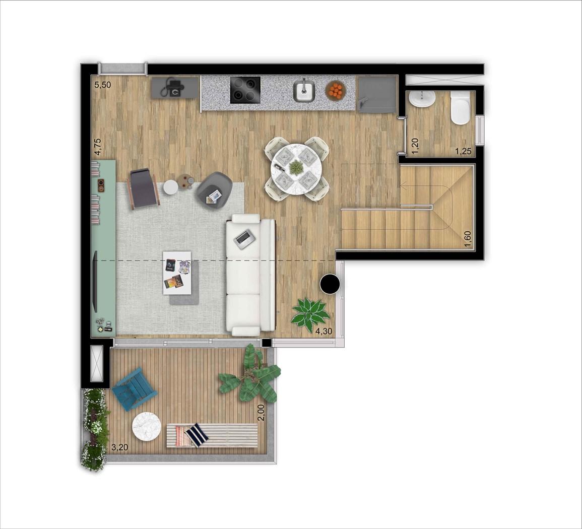 Duplex inferior 64 m 1 suíte | 2 vagas | Depósito privativo