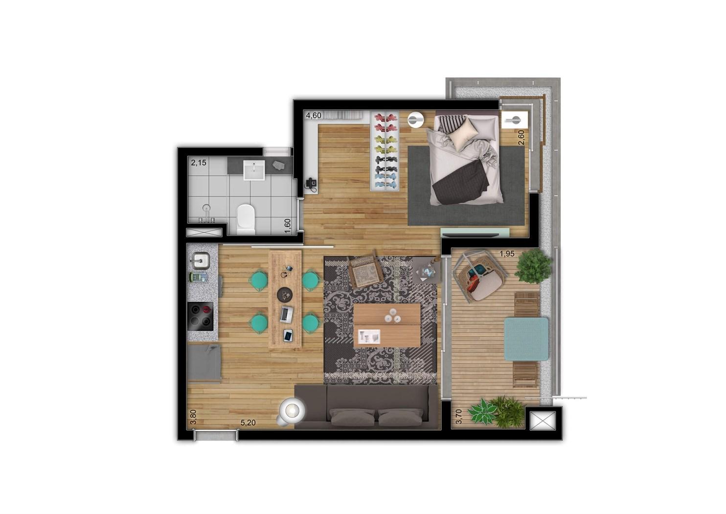Loft 50 m 1 dorm | 2 vagas | Depósito privativo