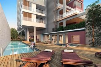 Perspectiva ilustrada da area da piscina