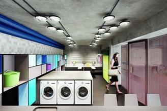 Perspectiva ilustrada da lavanderia