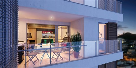 Perspectiva ilustrada do apartamento de 50 m