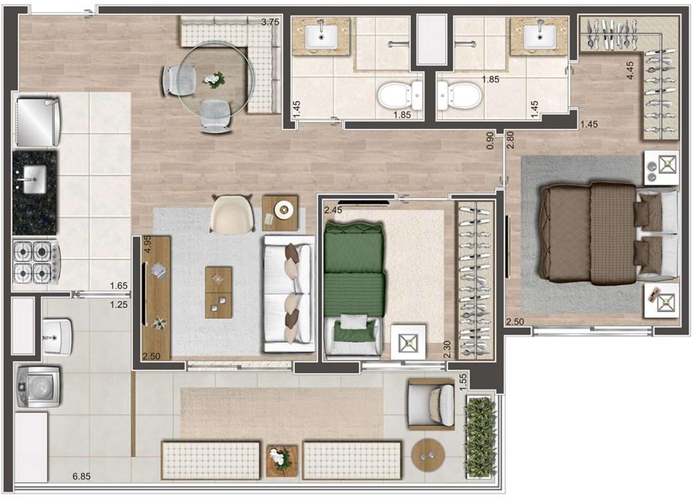 Planta Tipo 62m² | Living Near Pacaembu – ApartamentoNa  Barra Funda - São Paulo - São Paulo