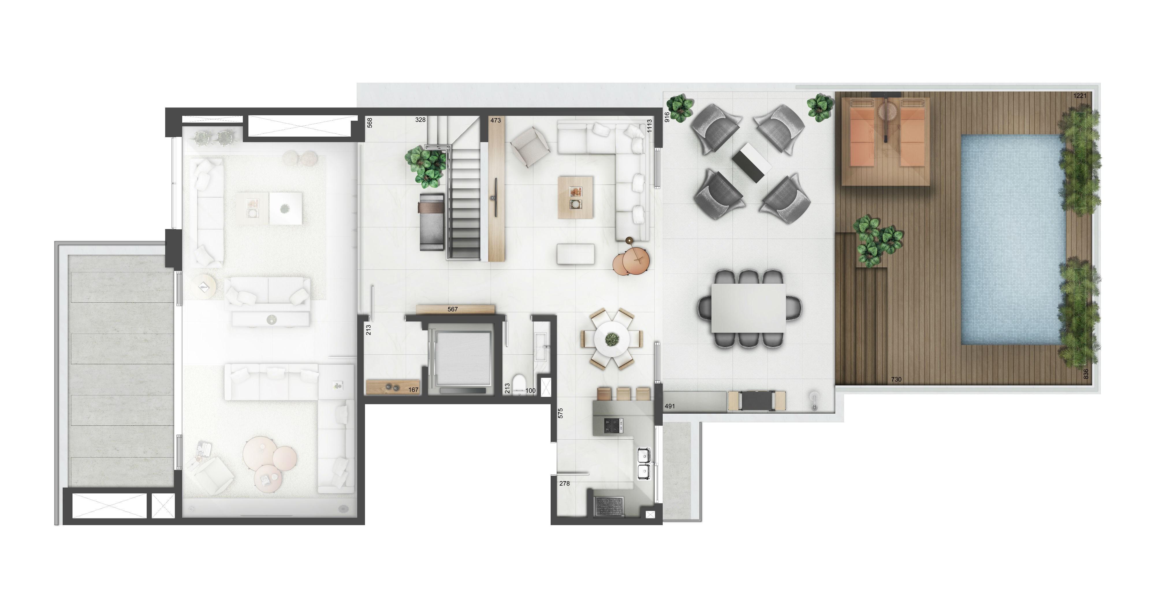 Planta apartamento YOO Moinhos