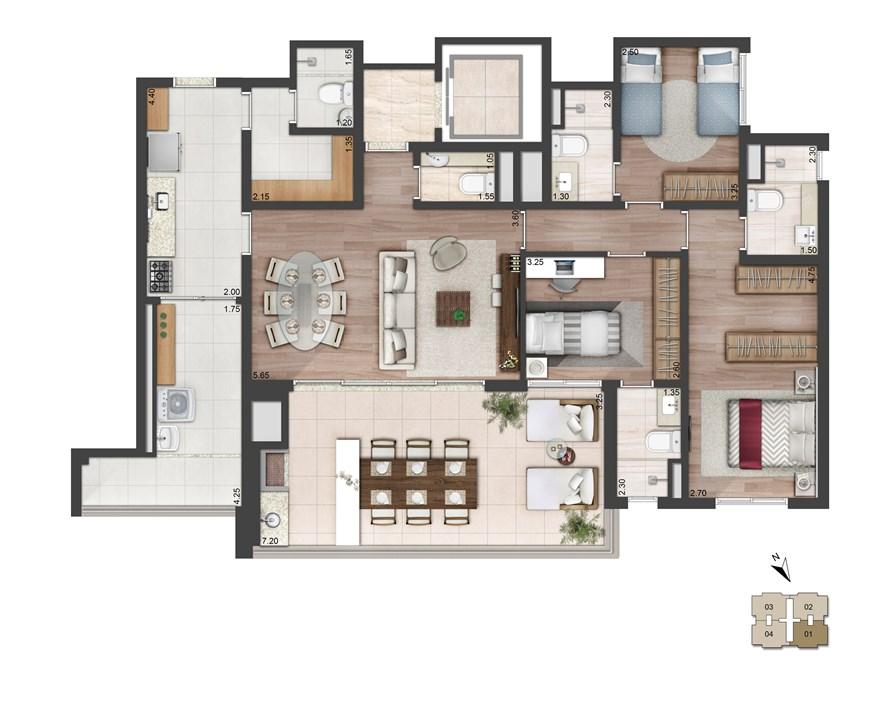Perspectiva ilustrada da planta padrão - 137m² - East Side | Quadra Greenwich – Apartamentona  Chácara Santo Antônio - São Paulo - São Paulo