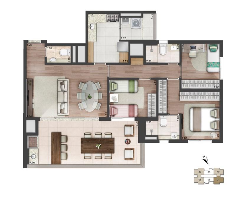 Perspectiva ilustrada da planta padrão - 113m² - West Side | Quadra Greenwich – West Side – Apartamentona  Chácara Santo Antônio - São Paulo - São Paulo