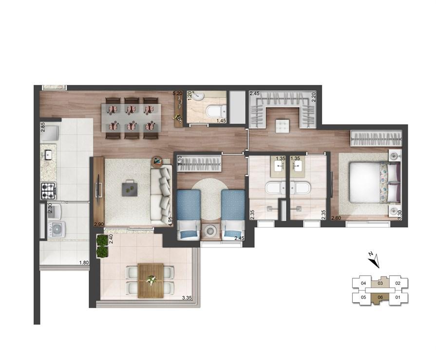 Perspectiva ilustrada da planta padrão - 79m² - West Side | Quadra Greenwich – West Side – Apartamentona  Chácara Santo Antônio - São Paulo - São Paulo