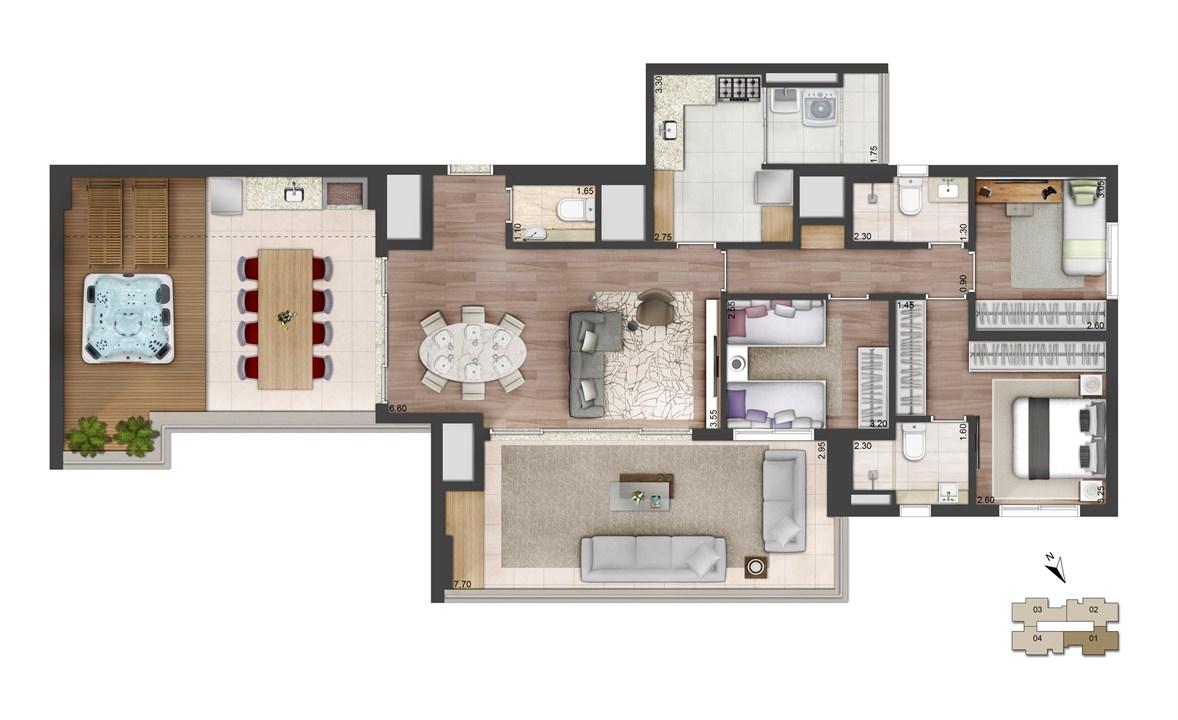 Perspectiva ilustrada da planta padrão Penthouse - 152m² - West Side | Quadra Greenwich – West Side – Apartamentona  Chácara Santo Antônio - São Paulo - São Paulo