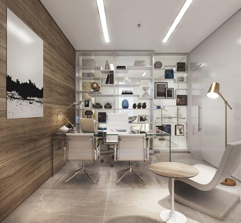 Perspectiva Ilustrada do Consultório de 47 m²