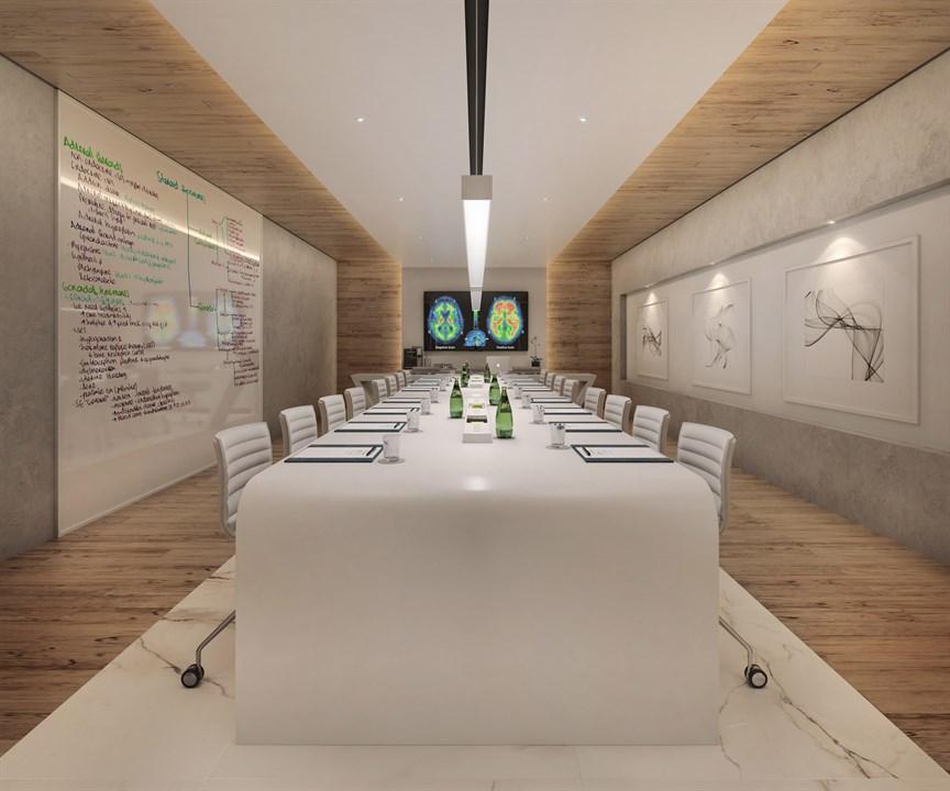 Perspectiva ilustrada da sala de reunião