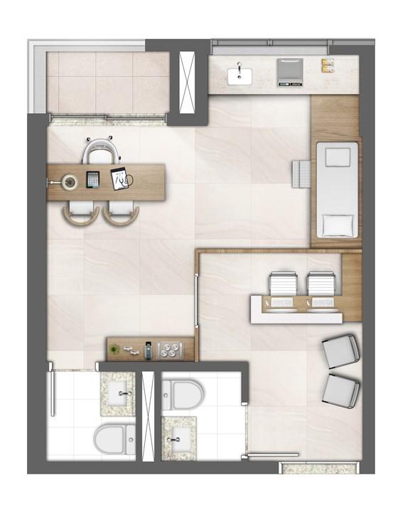 Planta ilustrada do consultório 36m² | Medplex Campinas – Consultórioem  Guanabara - Campinas - Campinas