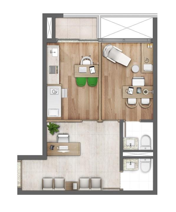 Planta ilustrada do consultório 44m²  | Medplex Campinas – Consultórioem  Guanabara - Campinas - Campinas