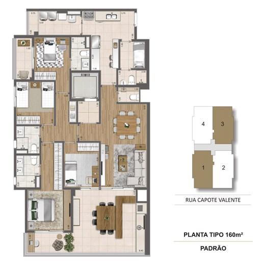 Planta Tipo 160 m² | Cyrela Haus by YOO – Apartamentoem  Pinheiros - São Paulo - São Paulo