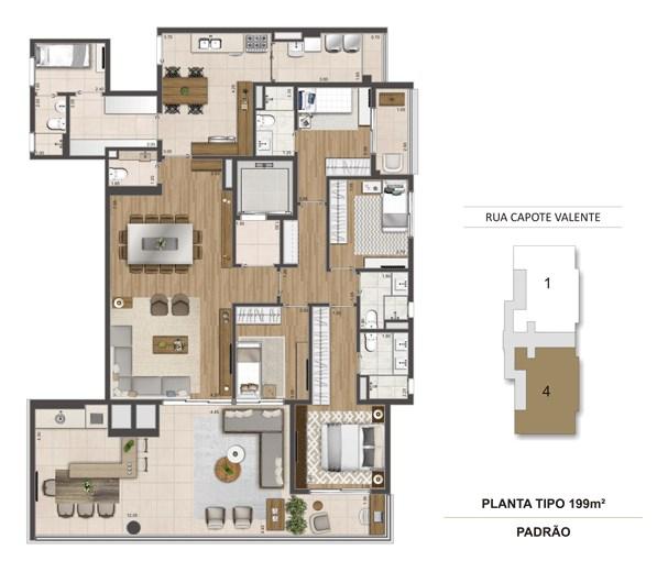 Planta Tipo 199 m² | Cyrela Haus by YOO – Apartamentoem  Pinheiros - São Paulo - São Paulo