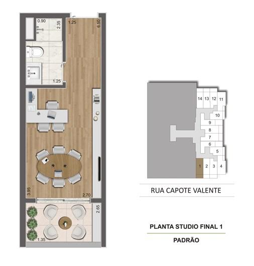 Planta Tipo Studio 25 m² | Cyrela Haus by YOO – Apartamentoem  Pinheiros - São Paulo - São Paulo