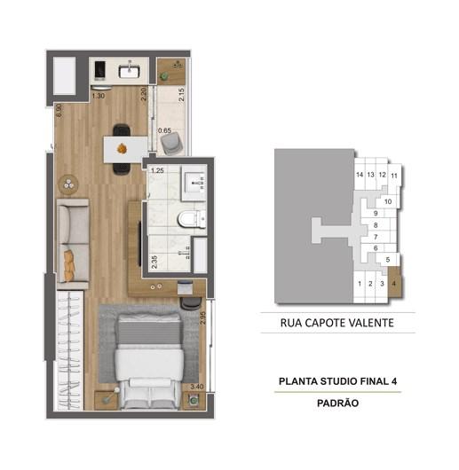 Planta Tipo Studio 29 m² | Cyrela Haus by YOO – Apartamentoem  Pinheiros - São Paulo - São Paulo