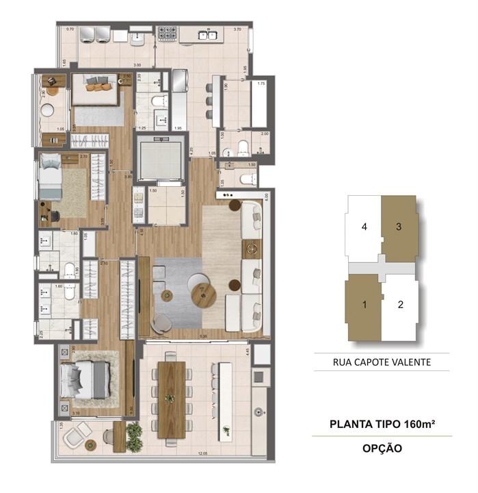Planta opção 160m² | Cyrela Haus by YOO – Apartamentoem  Pinheiros - São Paulo - São Paulo