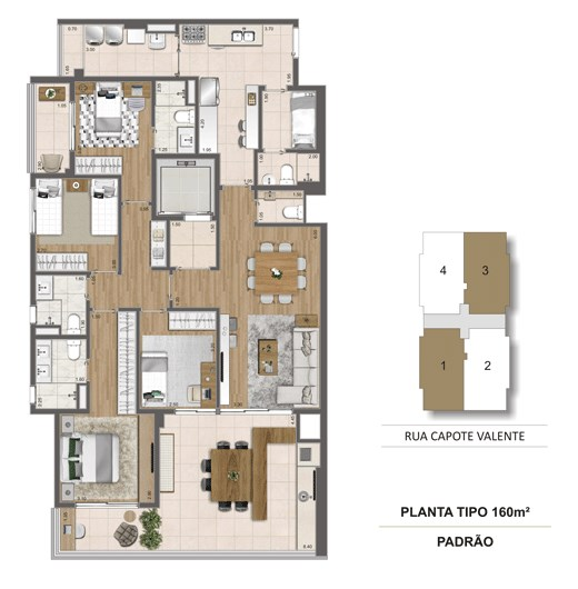 Planta tipo 160m² | Cyrela Haus by YOO – Apartamentoem  Pinheiros - São Paulo - São Paulo