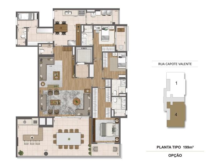 Planta Tipo 199m² | Cyrela Haus by YOO – Apartamentoem  Pinheiros - São Paulo - São Paulo
