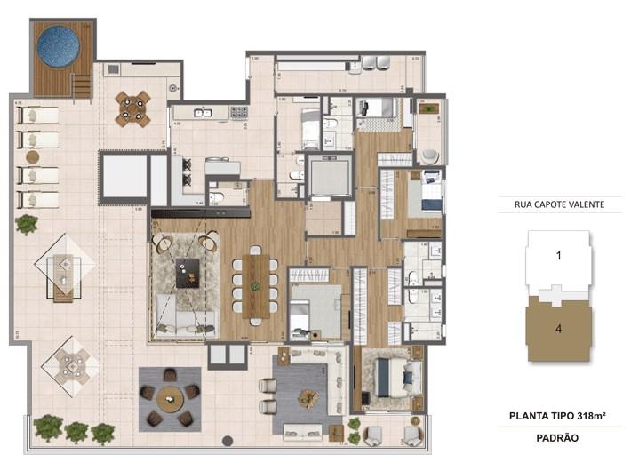Planta Tipo 318m² | Cyrela Haus by YOO – Apartamentoem  Pinheiros - São Paulo - São Paulo