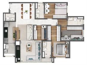 Planta Opção 108m²  - 4 dormitórios